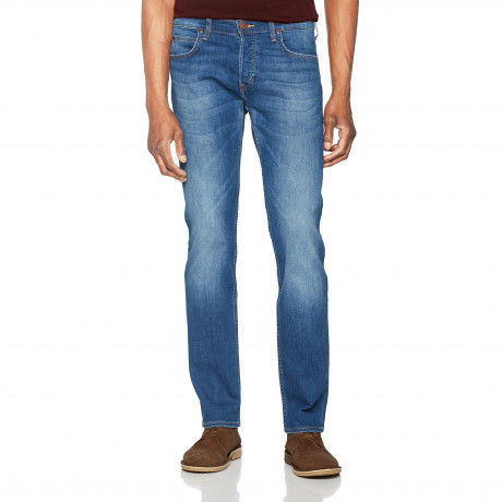 Lee Powell Slim Tapered Soft Blue Denim Jeans | Jean Scene