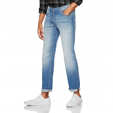 Lee Daren Regular Slim Worn In Blue Denim Jeans | Jean Scene
