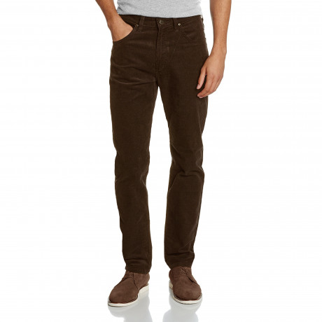 Lee Daren Zip Regular Slim Dark Brown Corduroy Jeans | Jean Scene