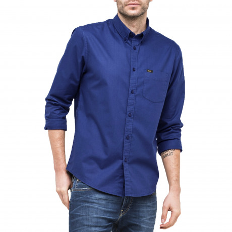 Lee Button Down Plain Shirt Long Sleeve Indigo Flash | Jean Scene