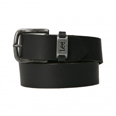 Lee Basic Logo Leather Belt Black | Jean Scene
