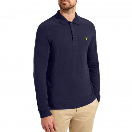 Lyle & Scott Long Sleeve Polo Shirt Navy | Jean Scene