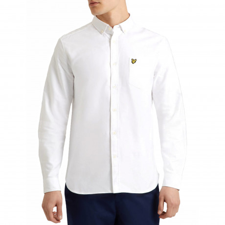 Lyle & Scott Oxford Shirt Long Sleeve White | Jean Scene