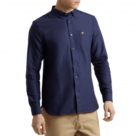 Lyle & Scott Oxford Shirt Long Sleeve Navy | Jean Scene