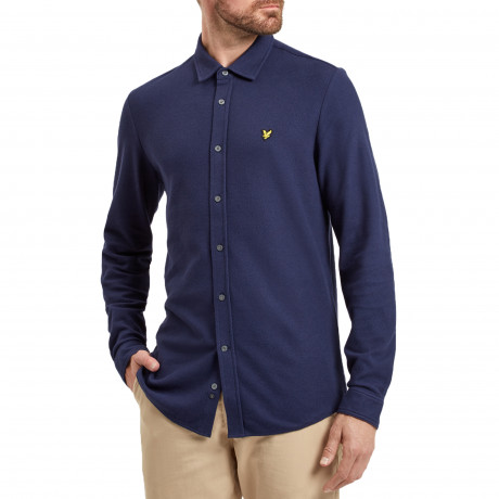 Lyle & Scott Honeycomb Shirt Long Sleeve Navy | Jean Scene
