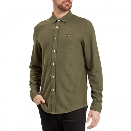 Lyle & Scott Honeycomb Shirt Long Sleeve Olive | Jean Scene