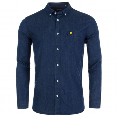Lyle & Scott Denim Shirt Long Sleeve Dark Indigo | Jean Scene