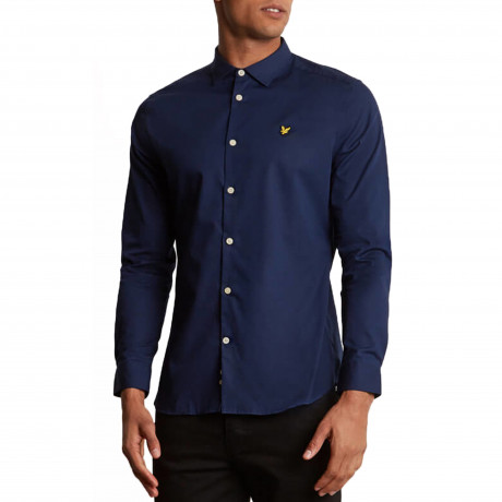 Lyle & Scott Poplin Shirt Long Sleeve Navy | Jean Scene