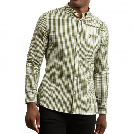 Lyle & Scott Gingham Check Shirt Long Sleeve Woodland Green | Jean Scene