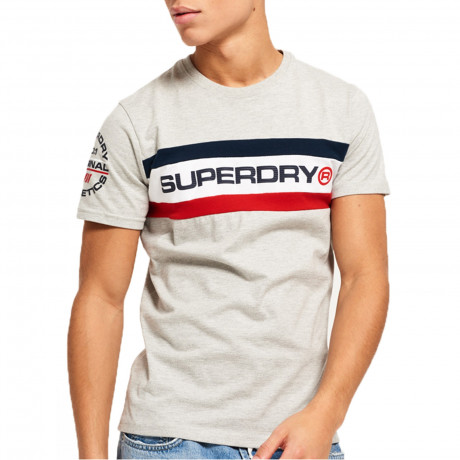 Superdry Chest Band Men's T-Shirt Stadium Grey Grindle | Jean Scene