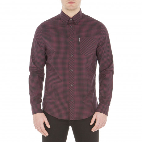 Ben Sherman Check Men's Long Sleeve Gingham Shirt Dark Plum | Jean Scene