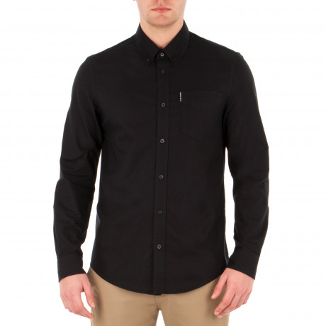 Ben Sherman Casual Men's Long Sleeve Oxford Shirt True Black | Jean Scene