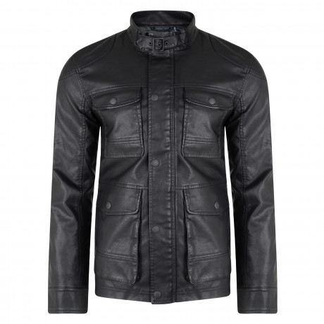 Threadbare Synthetic McQueen Long Leather Jacket Black | Jean Scene