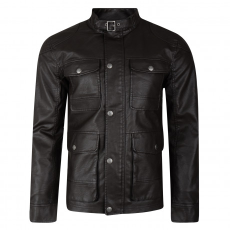 Threadbare Synthetic McQueen Long Leather Jacket Brown | Jean Scene