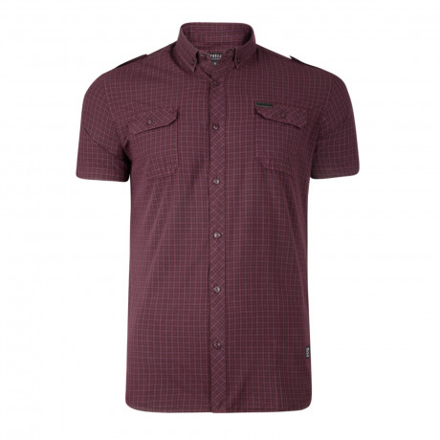 Firetrap Mecosta Check Pattern Shirt Short Sleeve Merlot | Jean Scene