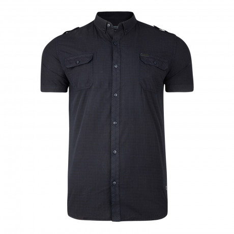 Firetrap Mecosta Check Pattern Shirt Short Sleeve Navy Blue | Jean Scene