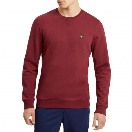 Lyle & Scott Crew Neck Men's Sweatshirt Claret Jug | Jean Scene