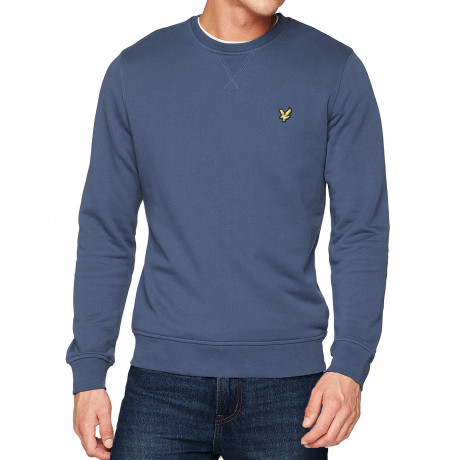 Lyle & Scott Crew Neck Men's Sweatshirt Indigo Blue | Jean Scene