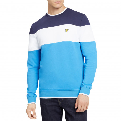 Lyle & Scott Crew Neck Block Stripe Sweatshirt Topaz Blue
