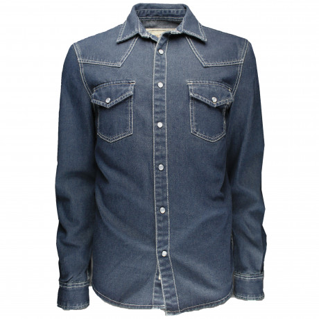 Soulstar Denim Western Shirt Long Sleeve Blue | Jean Scene