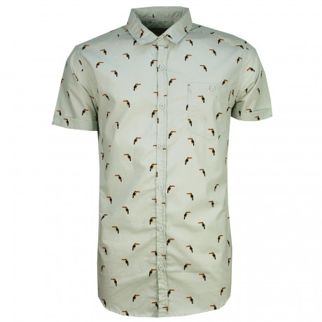 Soulstar Casual Bird Print Shirt Short Sleeve Pastel Green | Jean Scene