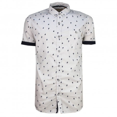 Soulstar Casual Yachting Print Shirt Short Sleeve White | Jean Scene