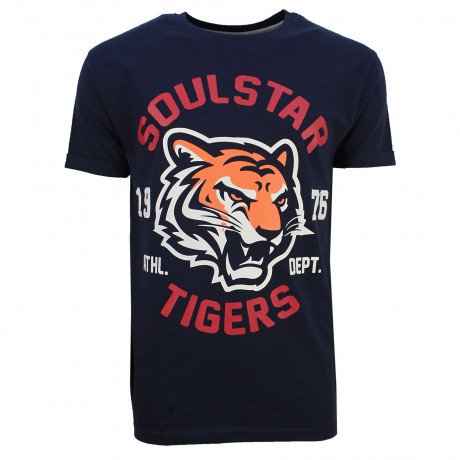Soulstar Mereum Crew Neck Cotton Tiger T-Shirt Navy | Jean Scene