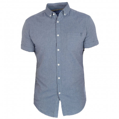 Soulstar Casual Pastel Plain Shirt Short Sleeve Navy | Jean Scene