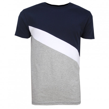 Soulstar Row Crew Neck Cotton Fashion T-Shirt Navy | Jean Scene
