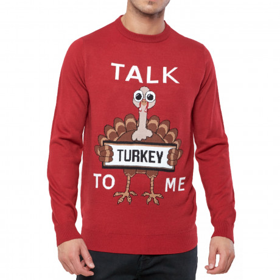 Christmas Jumper Funny Crew Neck Talk Turkey To Me Red | Jean Scene