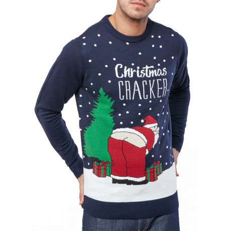 Christmas Jumper Funny Crew Neck Santa Cracker Midnight Marl | Jean Scene