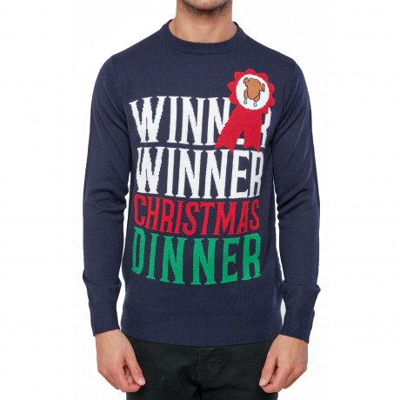 Christmas Jumper Funny Crew Neck Winner Winner Chicken Dinner French Navy | Jean Scene