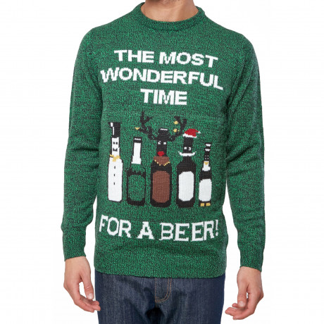 Christmas Jumper Funny Crew Neck Timer For Beer Green | Jean Scene