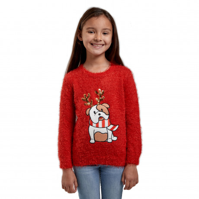 Christmas Jumper Funny Crew Neck Bulldog Red | Jean Scene