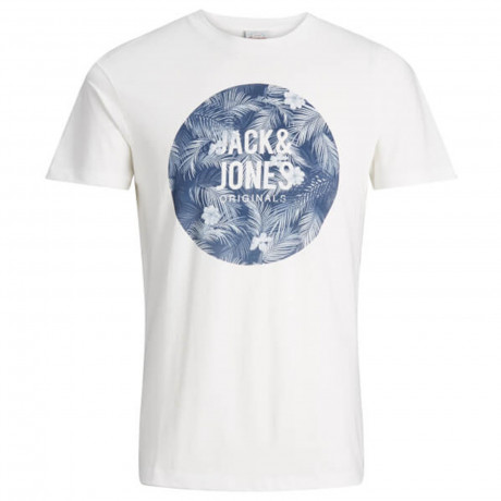 Jack & Jones Originals Crew Neck Newport Print T-shirt Cloud Dancer | Jean Scene