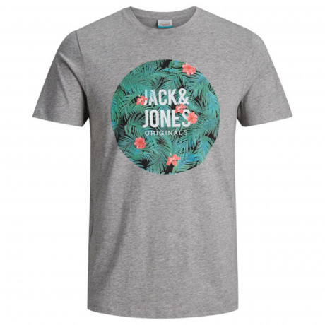 Jack & Jones Originals Crew Neck Newport Print T-shirt Light Grey | Jean Scene