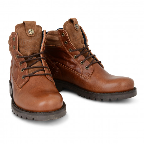 Wrangler Mens High Leather Newton Arizona Boots Cognac Shoes | Jean Scene