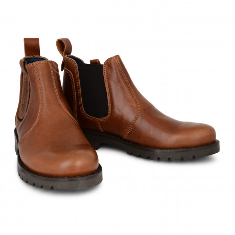 Wrangler Mens High Leather Newton Chelsea Boots Cognac Shoes | Jean Scene