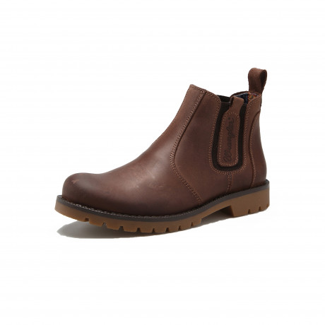 Wrangler Men‰s High Leather Newton Chelsea Boots Brown Shoes | Jean Scene