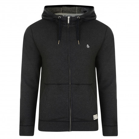 Original Penguin Men's Hooded Sweatshirt Dark Charcoal Heather | Jean Scene