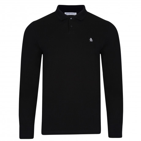Original Penguin Long Sleeve Polo Pique Shirt True Black | Jean Scene