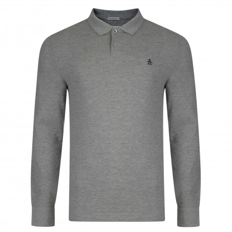 Original Penguin Long Sleeve Polo Pique Shirt Rain Heather Grey | Jean Scene