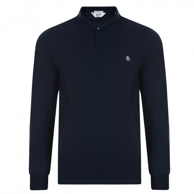 Original Penguin Long Sleeve Polo Pique Shirt Dark Sapphire | Jean Scene