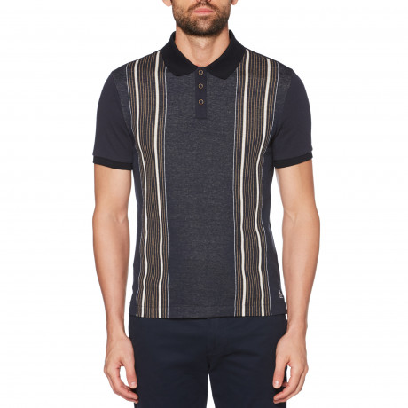 Original Penguin Vertical Stripe Polo Shirt Dark Sapphire | Jean Scene