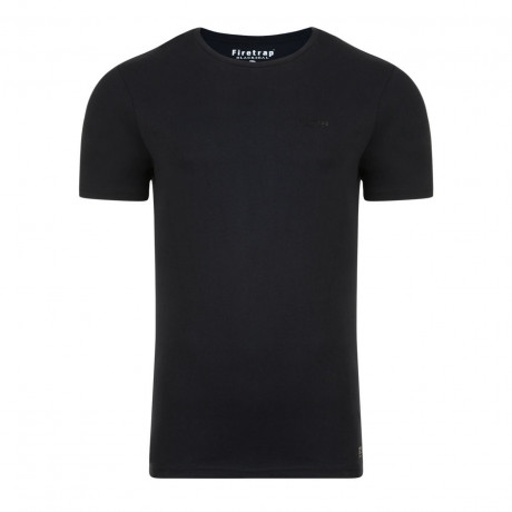 Firetrap Basic Crew Neck Cotton Plain T-shirt Black | Jean Scene