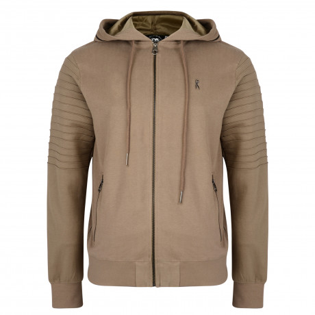 Ringspun Men's Pendle Zip Up Hoodies Khaki | Jean Scene