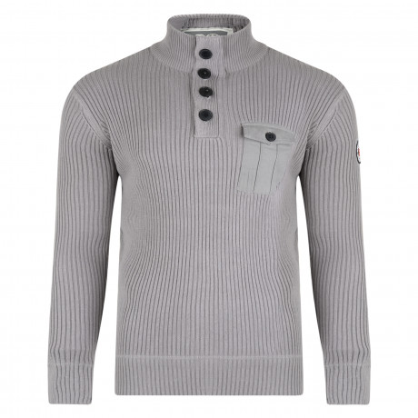 Crosshatch Ribbed Men's Stretchy Knit Jumper Titanium | Jean Scene