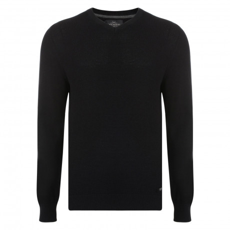 Threadbare Percy V-Neck Cotton Jumper Jet Black | Jean Scene