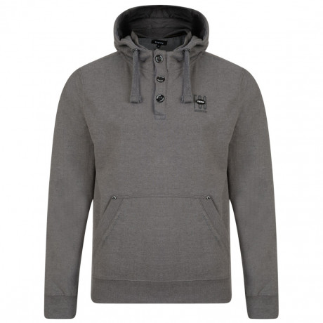 Firetrap Overhead Button Neck Men's Perus Hoodie Nine Iron Marl | Jean Scene