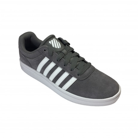 K-Swiss Men's Court Cheswick Leather Shoes Trainers Charcoal White | Jean Scene